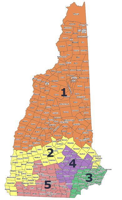 Districts New Hampshire Executive Council - Map of towns in nh