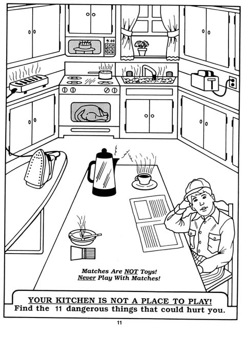 kitchen coloring pages - public education for kids division of fire safety nh